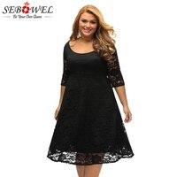 SEBOWEL Black Floral Lace Party Dress Plus Size 3 Xl Women Elegant Lace Evening Gown Big Size Female Sexy Long Sleeve Lace Dress