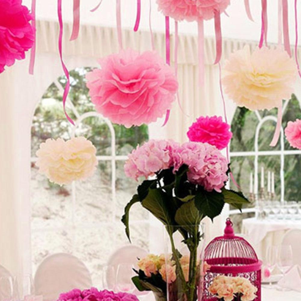 10pcs Artificial Tissue Paper Flower Balls Pompoms Dia 20cm For