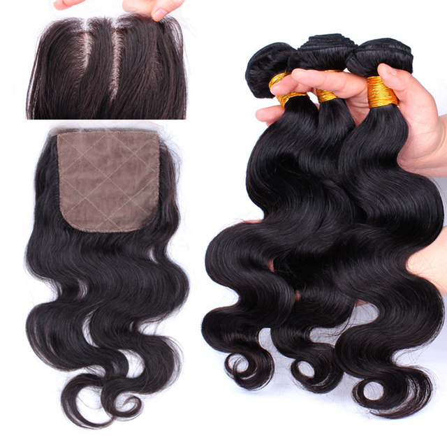 Brazilian Virgin Hair With Closure Silk Base Closure With Bundles Body Wave 4Pcs