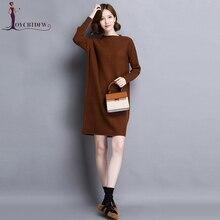 Plus Size Women Dress Vestido Mid long  Vestidos 100% Pure Wool Knit Sweater Fall Fashion Female Pullover Top No348