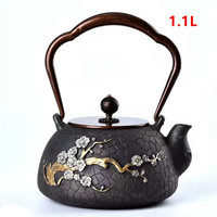 Cast Iron Tea Pot Set Japanese Teapot Tetsubin Kettle Drinkware KungFu Tools Stainless Steel Strainer wintersweet TeaKettle 1.1L