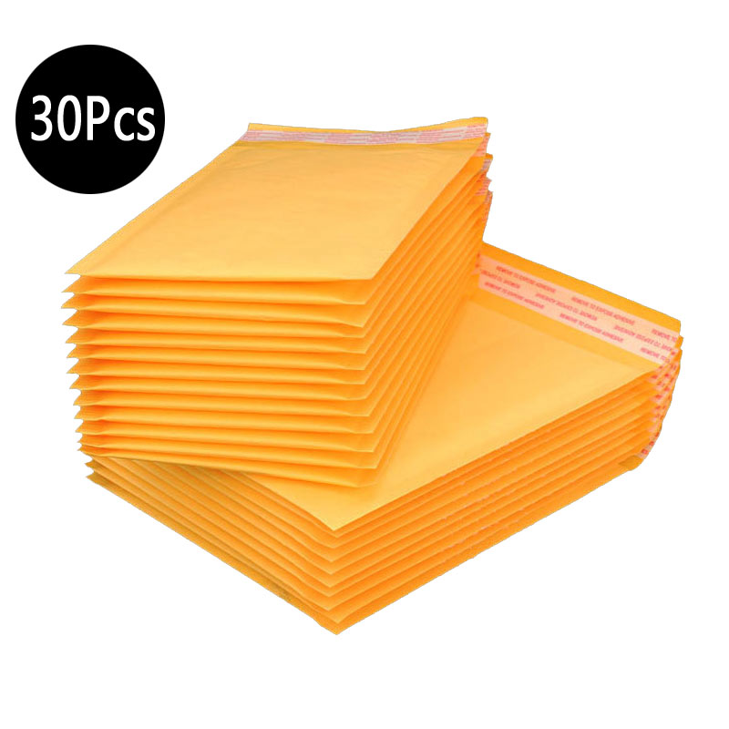 30pcs Mailing Bags Window Envelopes Bag Moistureproof High Quality Kraft Paper Seal Yellow Stationary Paper Envelopes