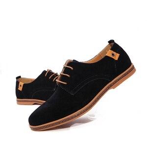 Image 3 - Мужские замшевые туфли на плоской подошве, со шнуровкой, размеры 39 48