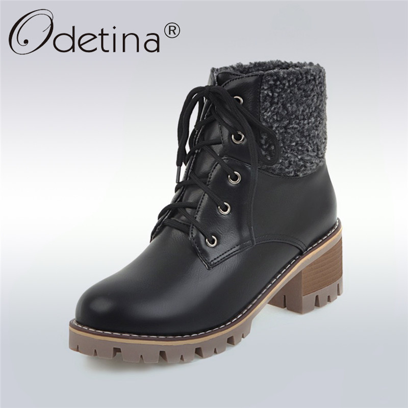 Odetina 2017 New Fashion Women Winter Warm Ankle Boots Thick Fur Lace Up Booties Chunky Square Heel Platform Shoes Big Size 43
