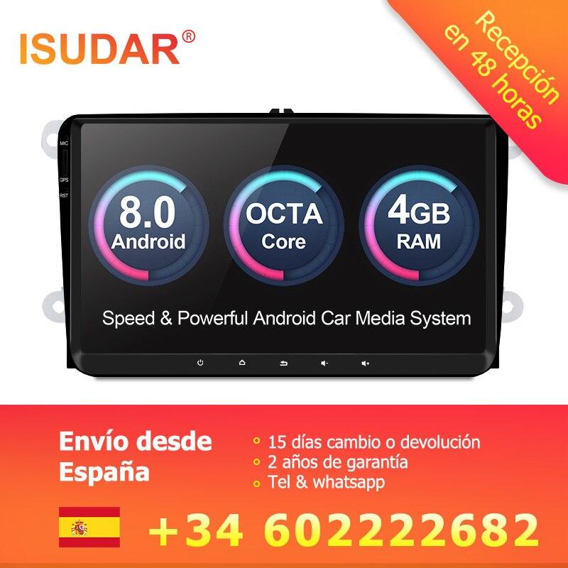 Isudar reproductor Multimedia Android 8,0 GPS 1 Din para Volkswagen/VW/POLO/PASSAT/Golf /Skoda/Octavia/Seat/Leon Radio IPS