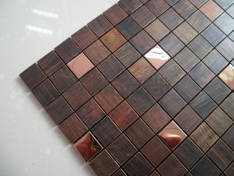 Free Shipping Bronze Mixed Steel Mosaic Tiles For Living Room Dining Bedroom Wall