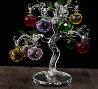 New Year Chirstmas Apple Tree Hanging Cut Crystal Glass Multicolor Faceted Apples Ornaments 10pcs For Christmas