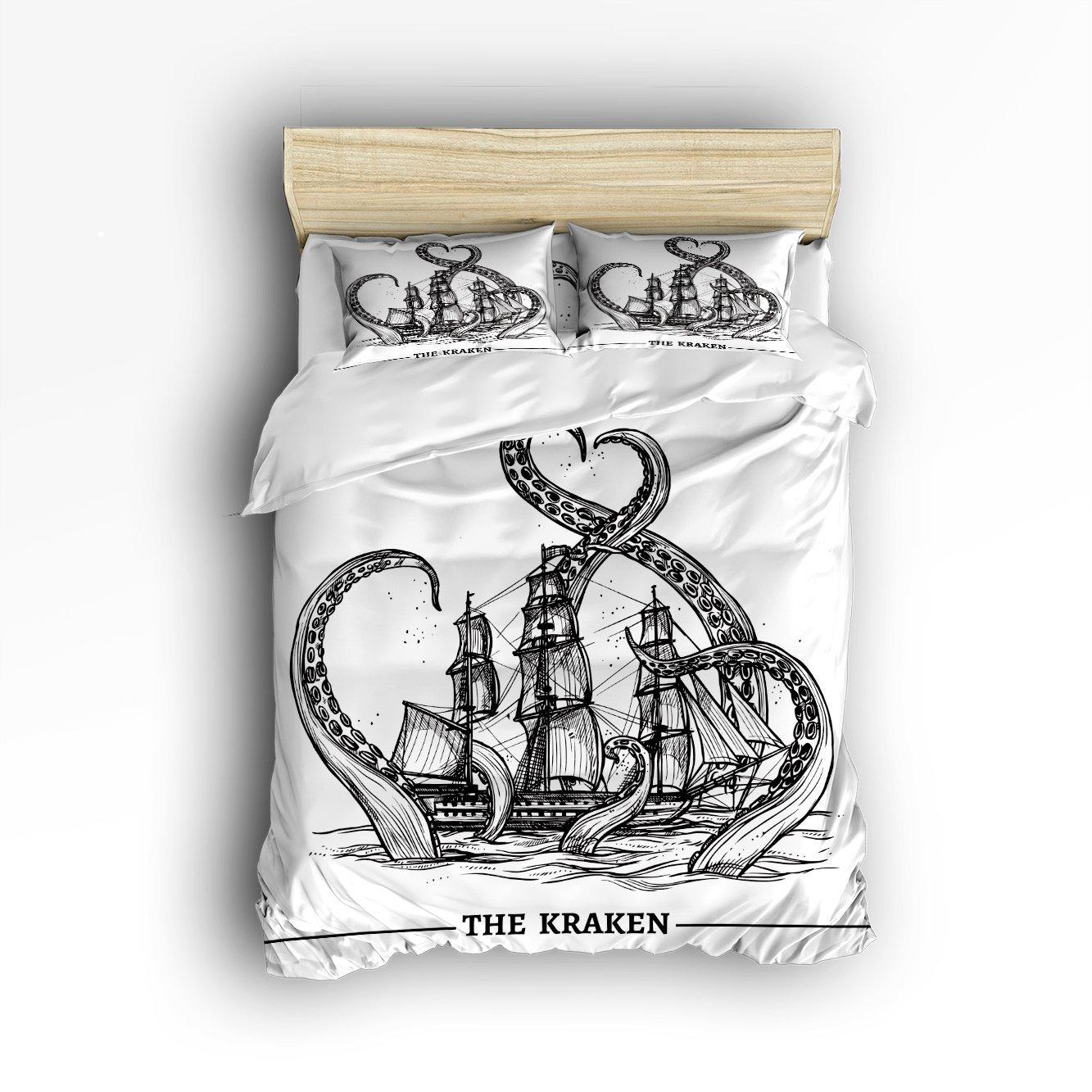 Voile bateau vagues et pieuvre Kraken tentacules ensemble de literie double taille-océan pays décorations housse de couette ensemble couvre-lit 4 pièces