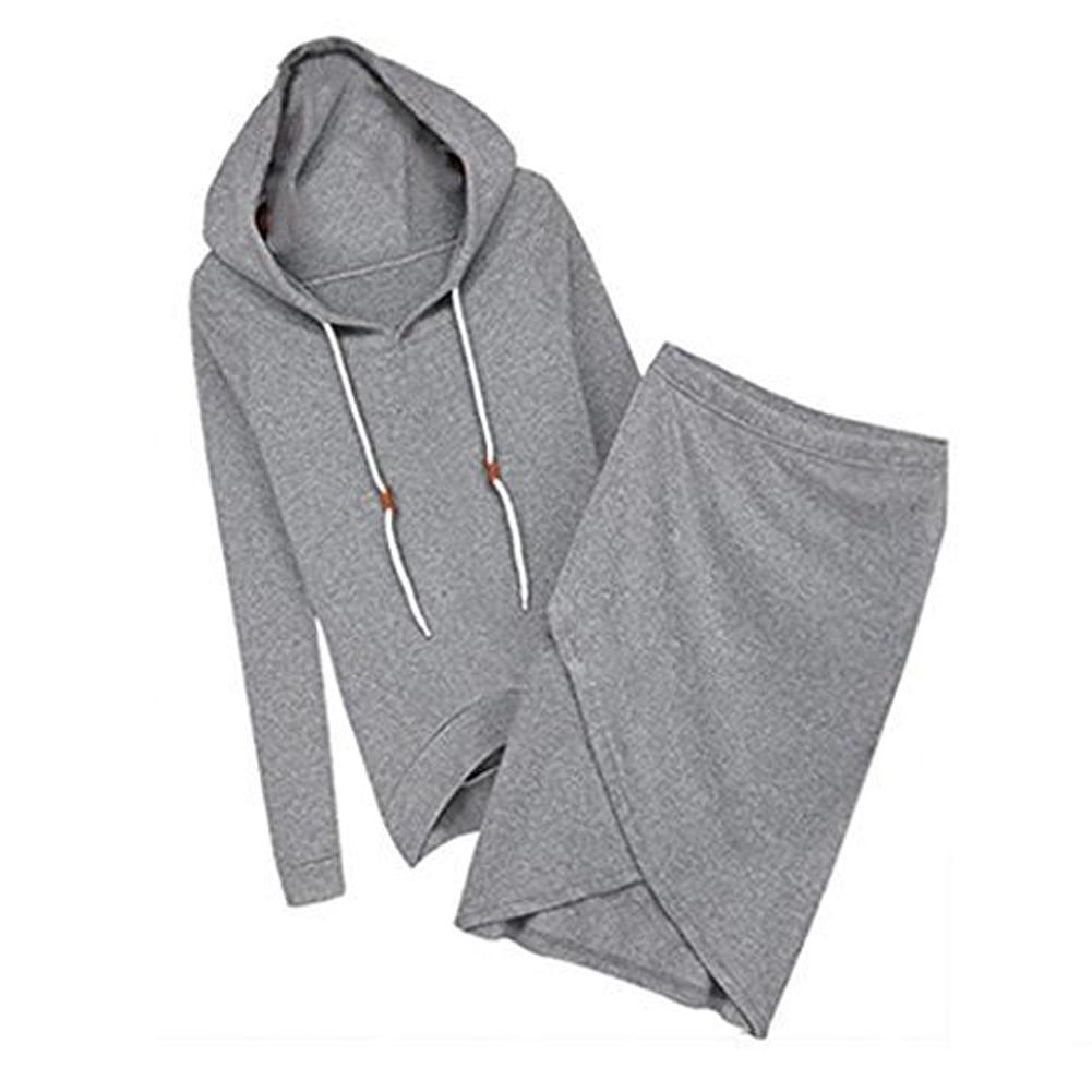 Autumn -Summer Women Hooded Casual Sexy Tracksuits Women 2pcs Suit Hoodies Skirts Long -Sleeve Sweatshirt