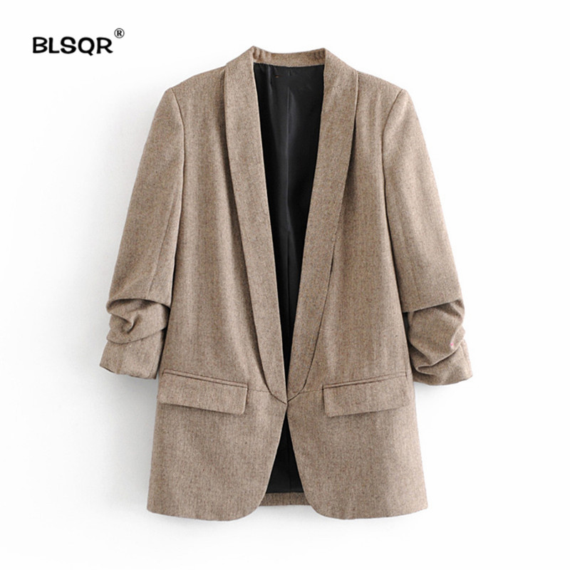 Women Chic Twill Blazer Gathered Three Quarter Sleeve Pockets Office Wear Coat Notched Collar Vintage Outerwear Tops