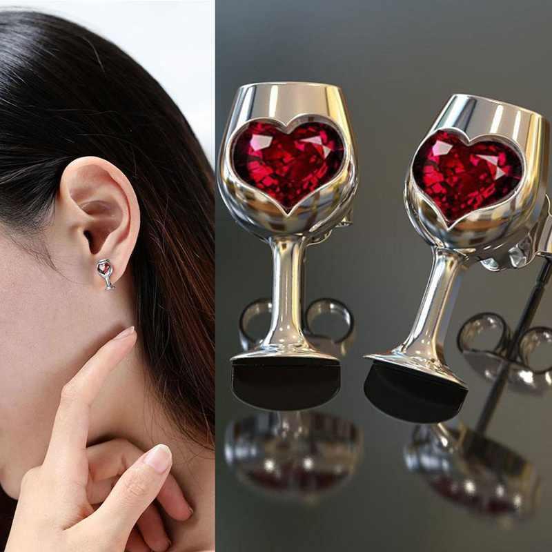 อารมณ์ Wine Glass ต่างหูหินสีแดง Cubic Zirconia ต่างหูแฟชั่นผู้หญิงเครื่องประดับขายส่ง