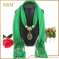 2016 Fashion Vintage Bohemian Big Resin Water Drop Pendant Solid Polyester Long Tassel Scarves Necklace for Women