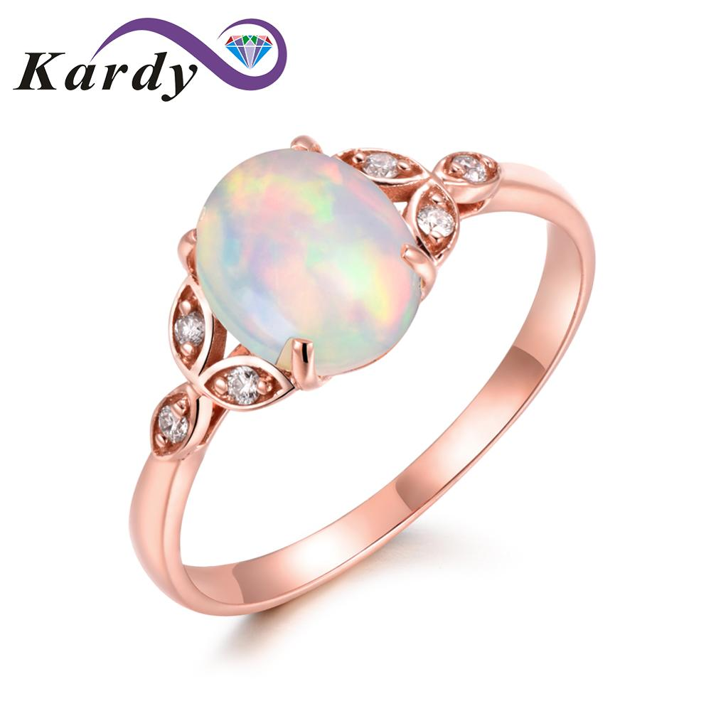 Brilliant Noble Womens Opal Gemstone Solid 14K Rose Gold Natural Diamond Wedding Bridal Ring Promise SetsBrilliant Noble Womens Opal Gemstone Solid 14K Rose Gold Natural Diamond Wedding Bridal Ring Promise Sets