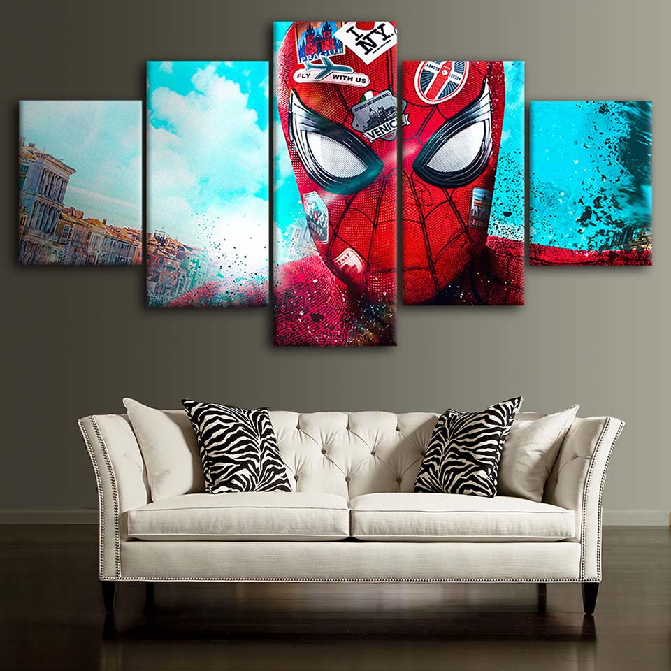 Canvas-Posters-Home-Decor-Wall-Art-Framework-5-Pieces-Spider-Man-Love-NYC-Paintings-For-Living (2)