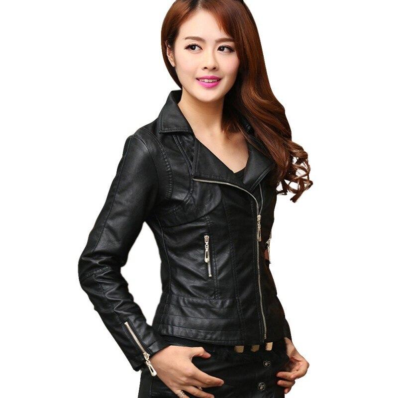 Autumn Female Winter Pu   Leather   Jacket Slim Outwear Femininos Elegant Punk Coat Jaqueta De Couro Black Khaki M-4XL