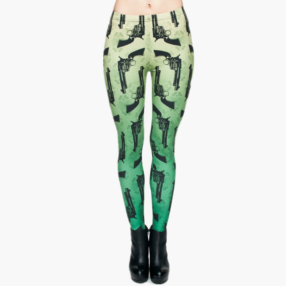 Hot Sale Fashion Guns Green 3D Full Printed Leggings Punk Women Legging Stretchy Trousers Casual Pants Leggings
