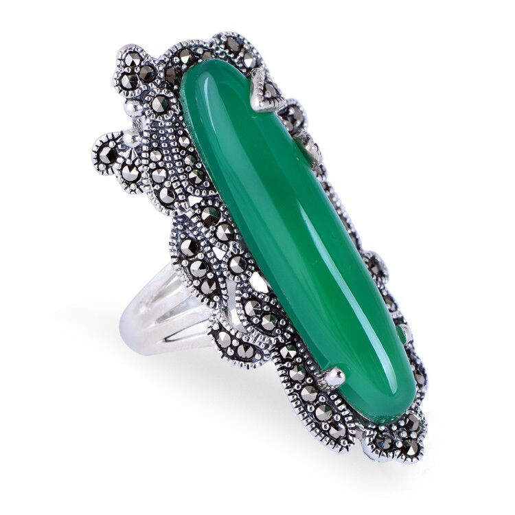 925 Sterling Silver Vintage Nature Green Chalcedony Marcasite Adjustable Open Ring Thai Silver Retro Jewelry CH057397 fashion 925 sterling silver vintage green chalcedony buckle bracelet women thai silver gift jewelry ch058505