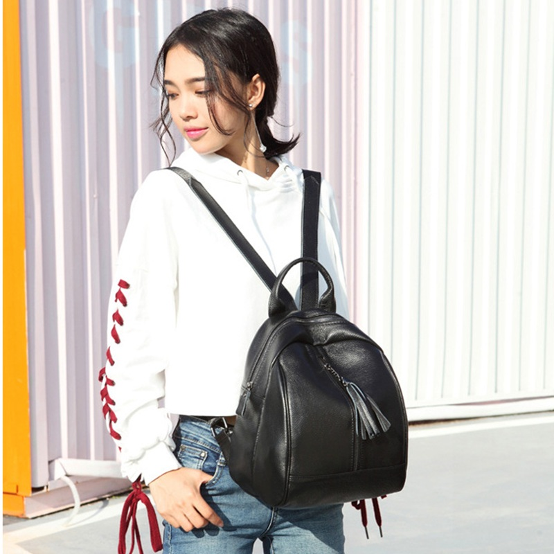New Women genuine leather Backpacks College style Girls High Quality Shoulder Bag Female Zipper School Bags Casual leather bag new brand high quality genuine leather women backpack female vintage backpacks casual bags fashion girls school bag bolsas