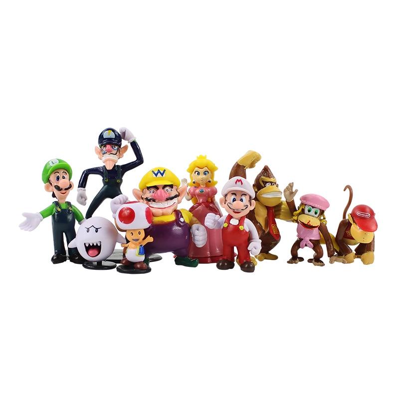 10pcs/lot Super Mario Bros Mario Luigi Wario Waluigi Donkey kong Toad Mushroom Peach Boo PVC Figure Cartoon Model Doll Kid Toys