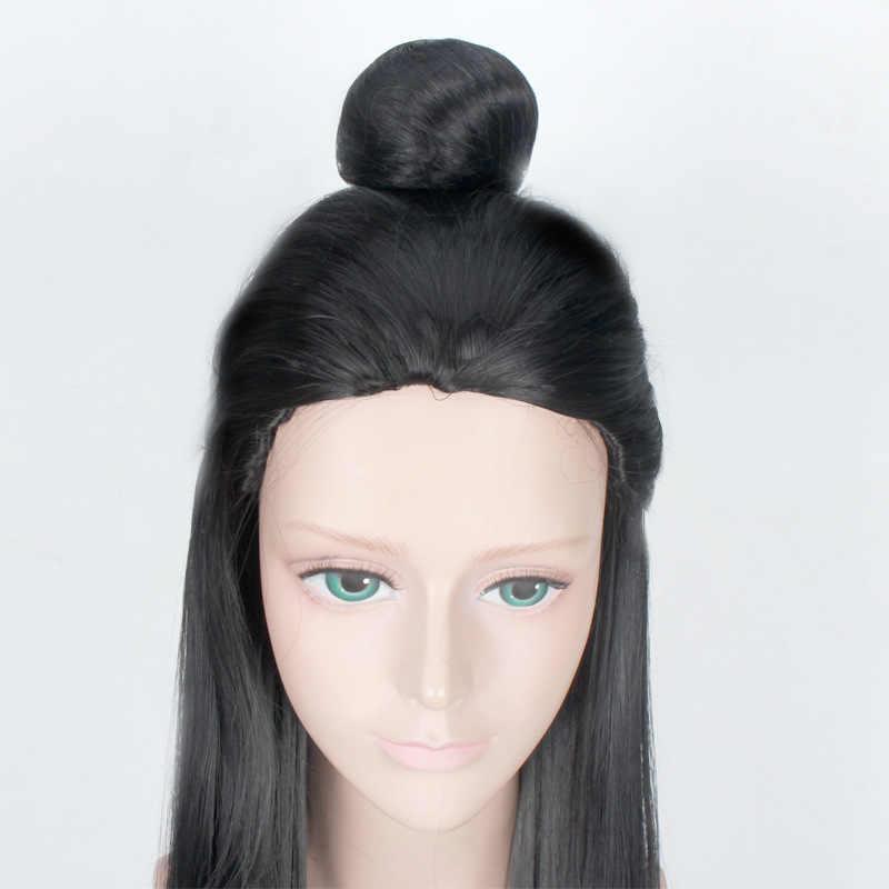 100 cm długa prosta starożytne chińskie włosy mężczyzn wojownik czarny peruka do cosplay szermierz Costume zagraj peruki wysokiej temperatury włókna