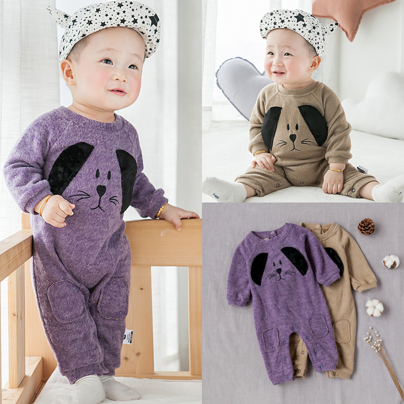 Baby Rompers Spring Autumn Cartoon Dog Baby Clothes Cotton Long Sleeve Jumpsuits Boys Girls Rompers  Baby Outfits Girls Clothes 2016 hot baby rompers boys girls cartoon short sleeve baby rompers cotton newborn baby clothes jumpsuits clothing mama printed