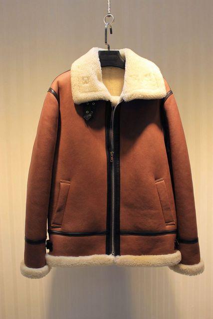 WINTER MEN'S FASHION CASUAL  SHEEP FUR  SHEEPSKIN surface shearling wool llining short DEISGN JACKET COAT