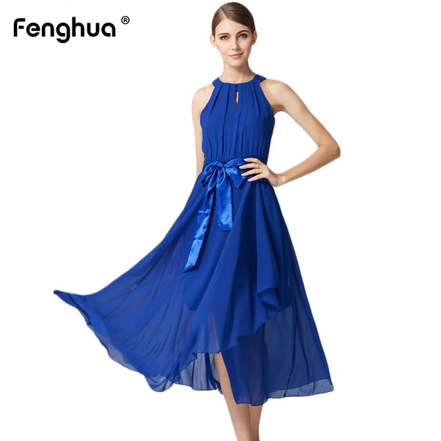78163dcf22 Fenghua Spring Summer Dress Women 2019 Sexy Sleeveless Long Chiffon Beach Dress  Female Elegant Halter oodji Party Maxi Dresses