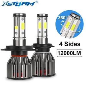 Image 1 - 4 strony 12000LM żarówki reflektorów samochodowych H4 H7 Led H8 H11 HB4 Led HB3 9005 9006 12V 24V 100W 6000K światła samochodowe żarówki światła przeciwmgielne lampy