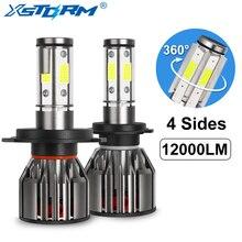 4 tarafı 12000LM araba kafa lambası ampulleri H4 H7 Led H8 H11 HB4 Led HB3 9005 9006 12V 24V 100W 6000K oto lambaları ampul sis lambası