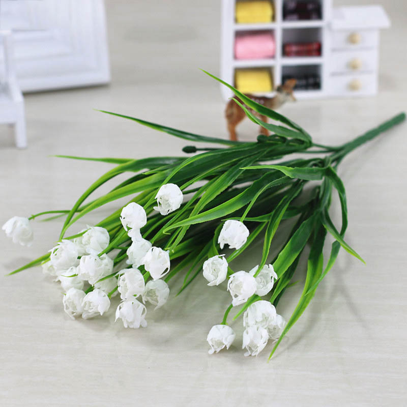 Flone Artificial Plastic Fake Flowers 35cm Small Flower Bouquet Tulip Home Living room Warm Decoration Garden Artificial Flowers (33)