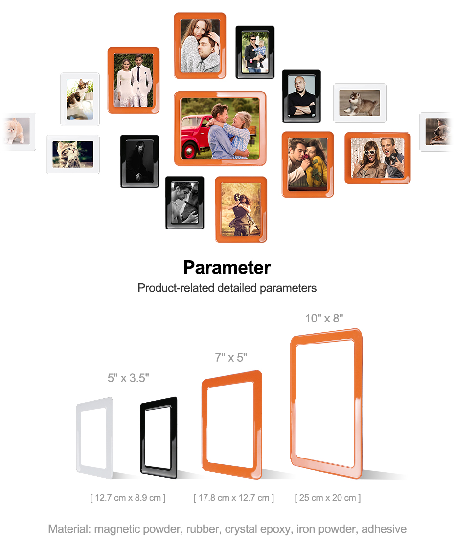 06 Magnetic Photo Picture Frames 6 X 4 7 X 5 Inches Wall Decor Movable Magnetic Photo Frame SET