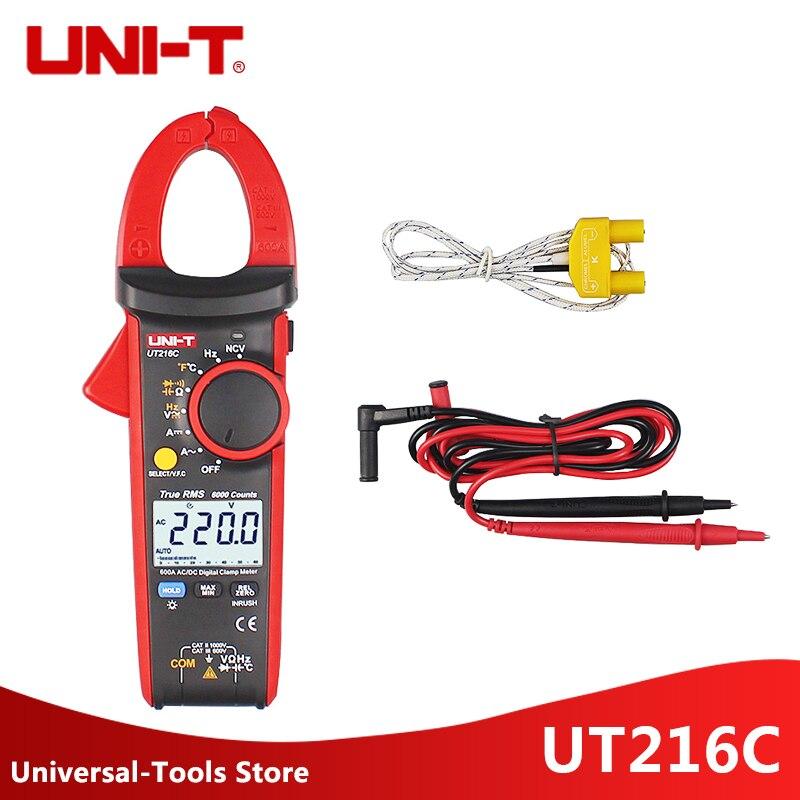 UNI-T UT216C Digital Clamp Meters Multimeters 600A True RMS  Auto Range UT216C/A Frequency Capacitance Temperature NCV Tester
