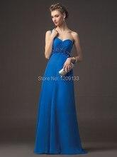 Blau abendkleid zum party 2015 neue reizvolle schatz neck one-schulter falte chiffon-lange prom kleider vestidos de festa longo