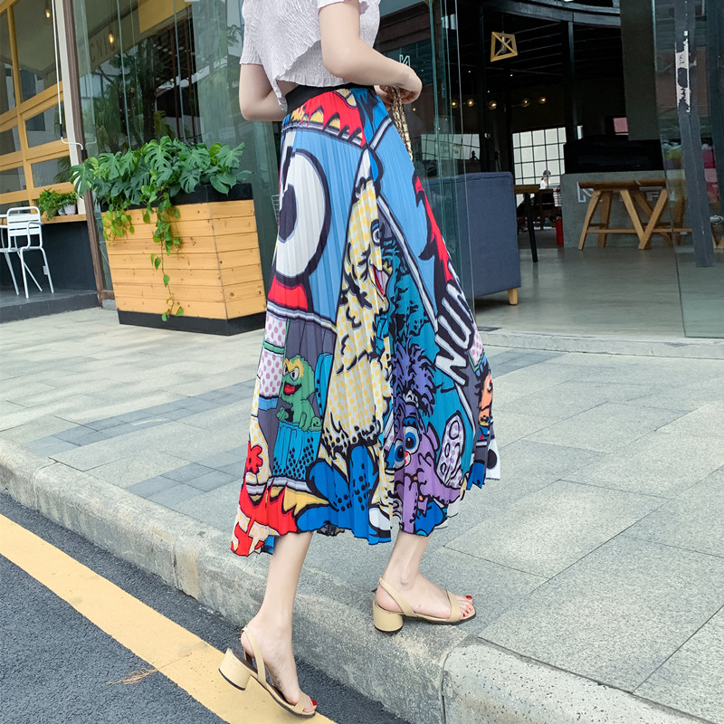 YICIYA Women Summer 2019 Harajuku High Street Style Rave Outfit High Waist Pleated Cartoon Skirts A-line Midi Skirt street