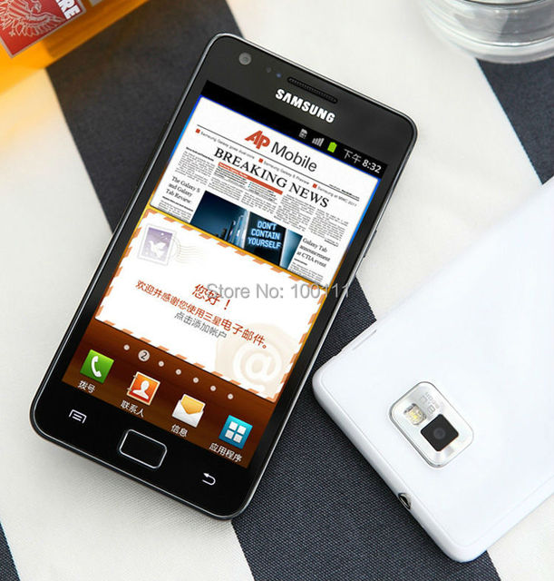Original Samsung Galaxy S2 I9100 Mobile Phone Unlocked 3G 8MP android Dual Core 4.3'' Touch 16GB ROM, Free Shipping