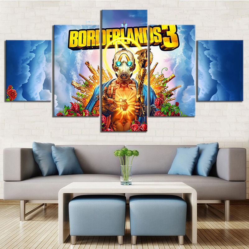 Prints Canvas Painting Wall Art Poster 5 Panel Borderlands 3 Video Game Modern For Living Room Home Decoration Modular Pictures image