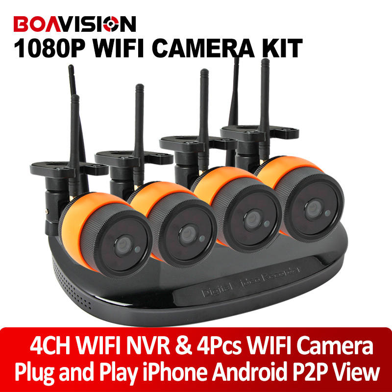 4Ch 2.0MP 1080P WIFI IP Camera NVR Wireless Kit Waterproof Night Vision Plug And Play Security CCTV Surveillance System plug and play 4ch 960p wifi nvr kit wireless cctv onvif ip camera system outdoor ir night vision security surveillance for home