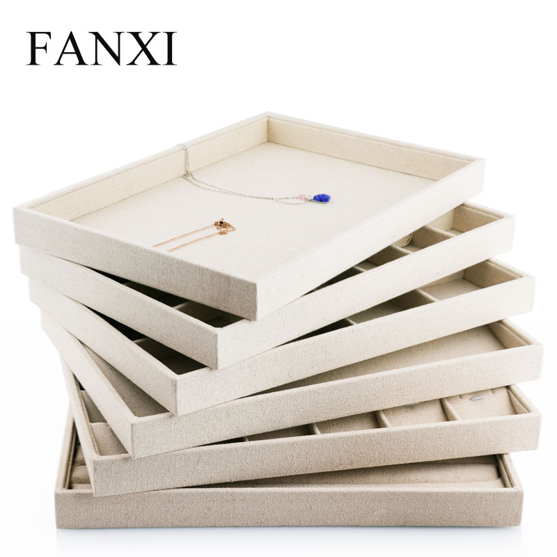 FANXI Luxury Beige Linen Jewelry Display Tray For Ring Necklace Pendant Earring Combination Showcase Storage Jewelry Organizer