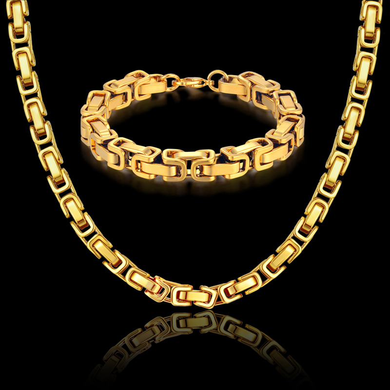 Zinxhir bizhuteri kuti bizhuteri Hip Hop Set Gold Color Solid Stainless Stainless Jewells For Men / Women 2019 Shitje Hot RU gjerdan dhe byzylyk