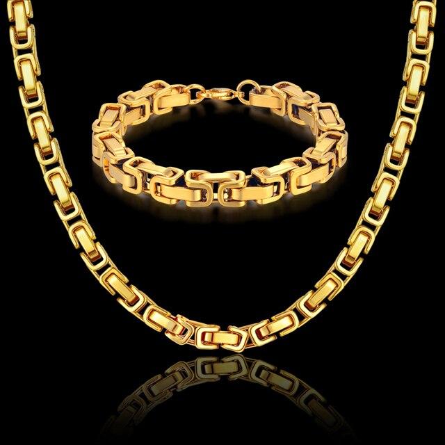 Mens Necklace Set Gold Color Necklaces Bracelets Byzantine Male Bijoux Chunky Stainless Steel Men Linked