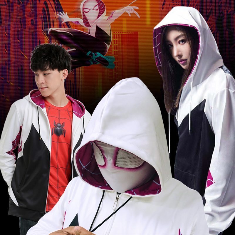 Spider Gwen Stacy Hoodies Cosplay Gwen Stacy Costumes With Mask Spiderman Hooded Jackets Superhero Pullover Sweatshirts