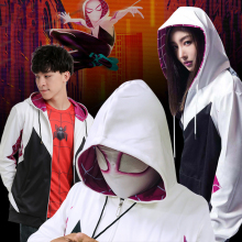 Spider Gwen Stacy Hoodies Cosplay Gwen Stacy Costumes With Mask Spiderman Hooded Jackets Superhero Pullover Sweatshirts stacy wolff promed 90
