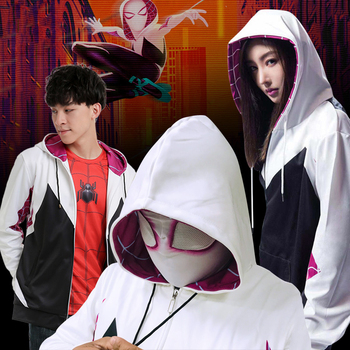 Spider Gwen Stacy Hoodies Cosplay Gwen Stacy Costumes With Mask Spiderman Hooded Jackets Superhero Pullover Sweatshirts stacy adams men s atwell oxford