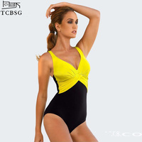 Sexy One Piece Patchwork Swimsuit 2015 New Arrival High Cut Bathing Suit Triangle Bottom Shaper Waist