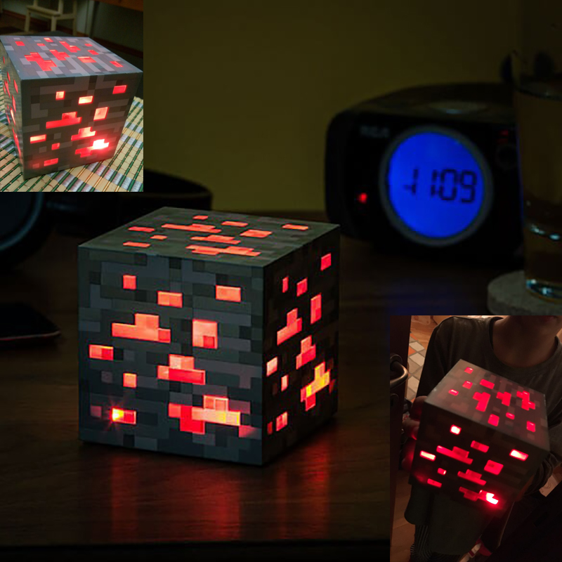LED Minecraft Light Up Toys Redstone Ore Square Night Light Action Figure Toy Light Up Diamond Ore Toys for Kids Xmas Gifts #E все цены