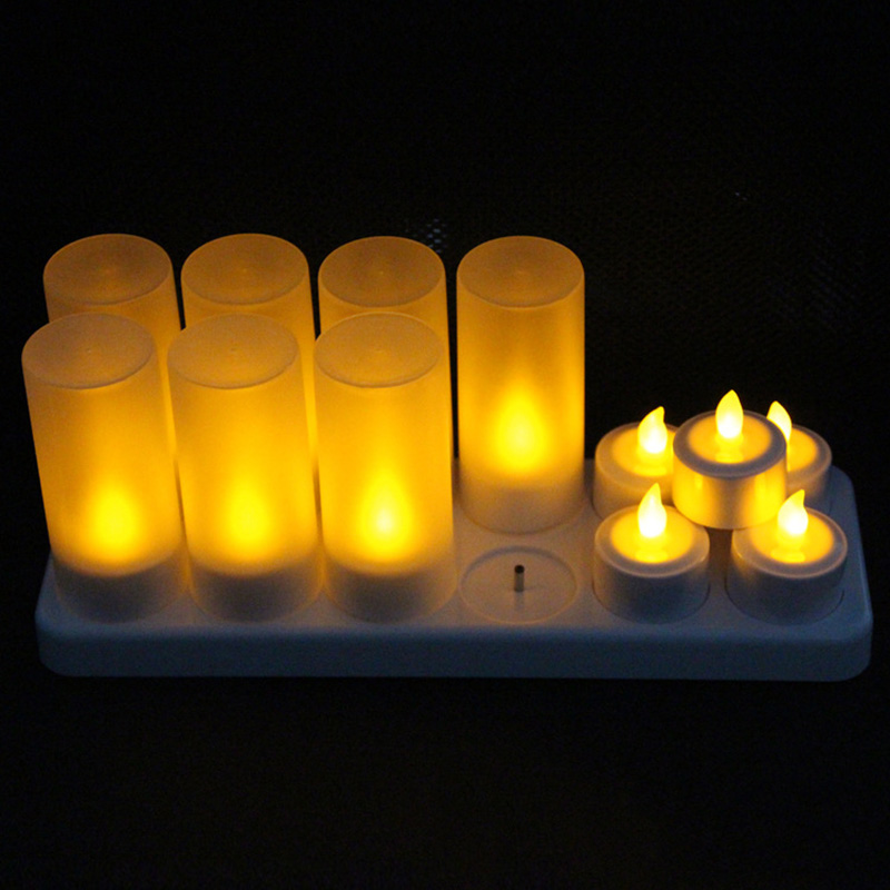 HOT 12Pcs Rechargeable LED Flameless Candle Light Long Lasting for Restaurants Home Party Decor LSF99HOT 12Pcs Rechargeable LED Flameless Candle Light Long Lasting for Restaurants Home Party Decor LSF99