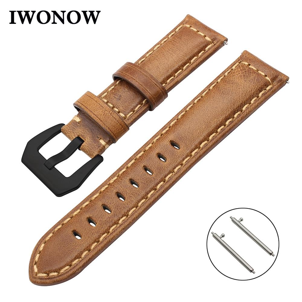 Italy Genuine Oil Leather Watchband for Huawei Watch 2 (Classic) Garmin Fenix Chronos Ticwatch 1 Quick Release Band Wrist Strap garmin fenix chronos с металлическим браслетом
