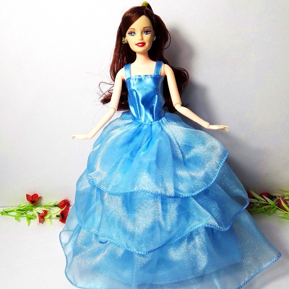 ᐂ1pc Barbie Doll + Dress /Luxury wathet blue Lace Bride Doll Multi ...