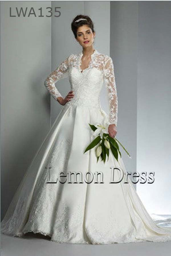 Free shipping 2013 New Appliques Satin Full Sleeves Wedding Dress ...