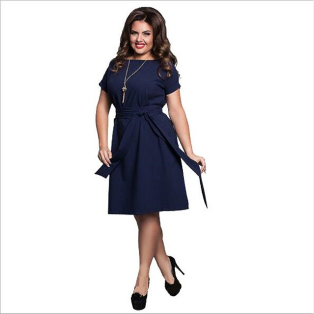 684786e2690 6XL Large Size Fat MM Summer Dress Solid Color High Waist Fat Female Short  Sleeves Party Dress Plus Size Women Clothing QC822